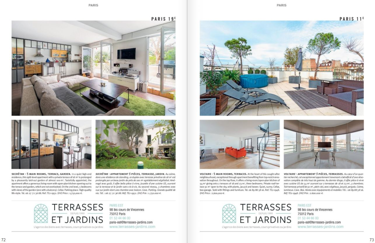 Mars 2021 : Magazine Résidences ImmobilierN°273 -TERRASSES ET JARDINS
