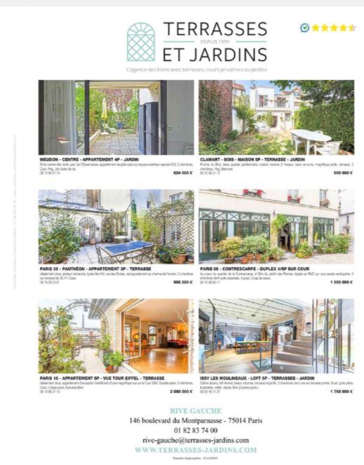 TERRASSES ET JARDINS - Magazine Logicimmo 329 - Annonces Rive Gauche