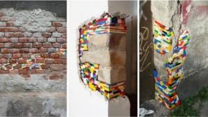 Des murs avec des briques Lego