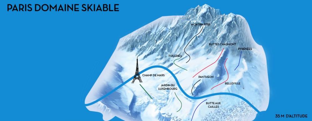 Paris domaine skiable - Plan des pistes - TERRASSES ET JARDINS