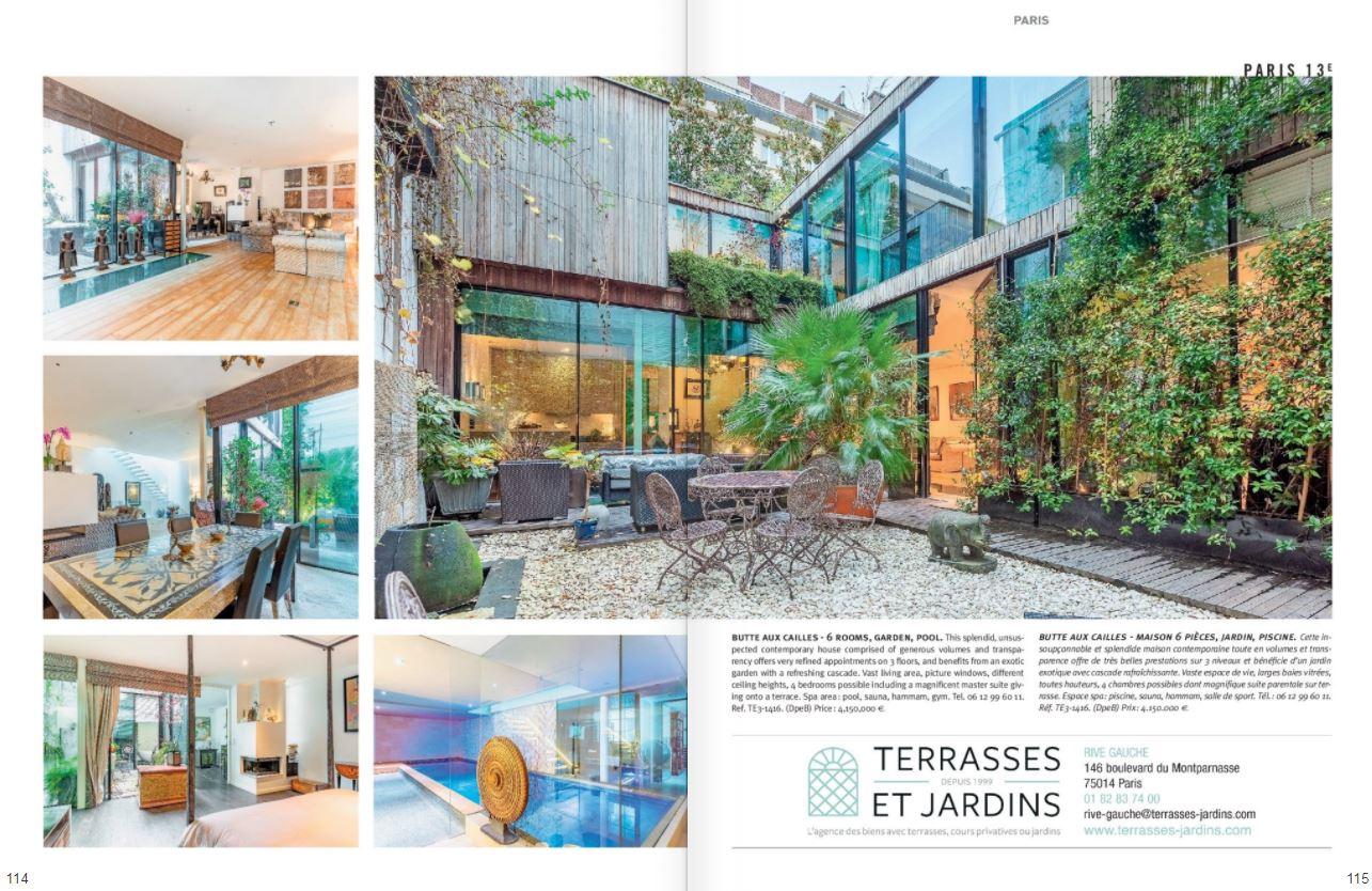 Janv. 2021 - Magazine Résidences Immobilier - TERRASSES ET JARDINS - Annonce Paris 13