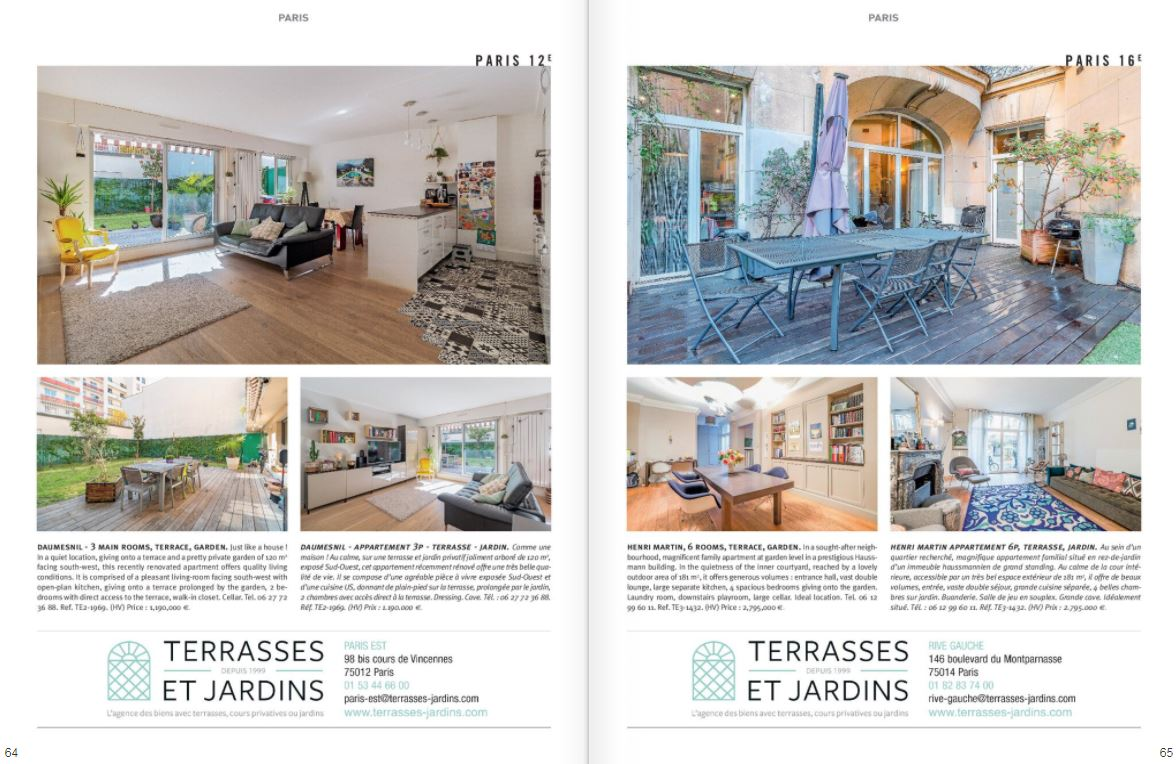 Mai 2021 - Magazine Résidences Immobilier N°275 - TERRASSES ET JARDINS - Paris 12 - Paris 16